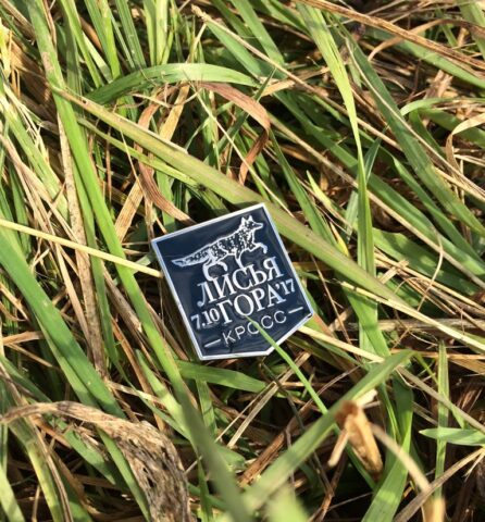 Значок кросса в траве